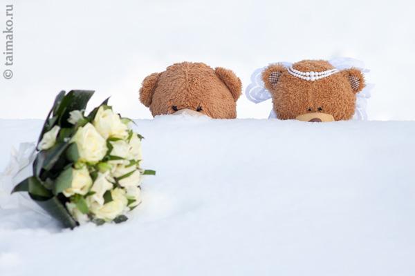 Свадебный букет и мишки