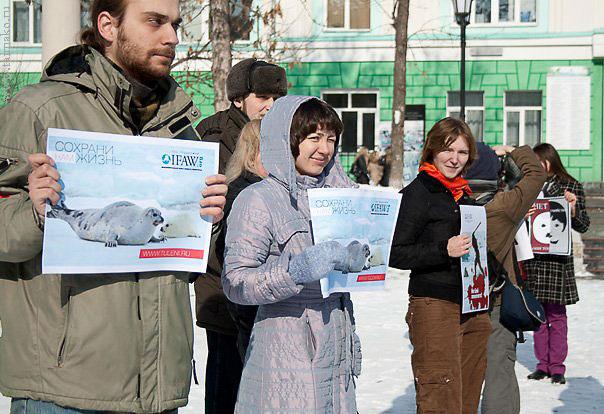 На митинге против убийства бельков